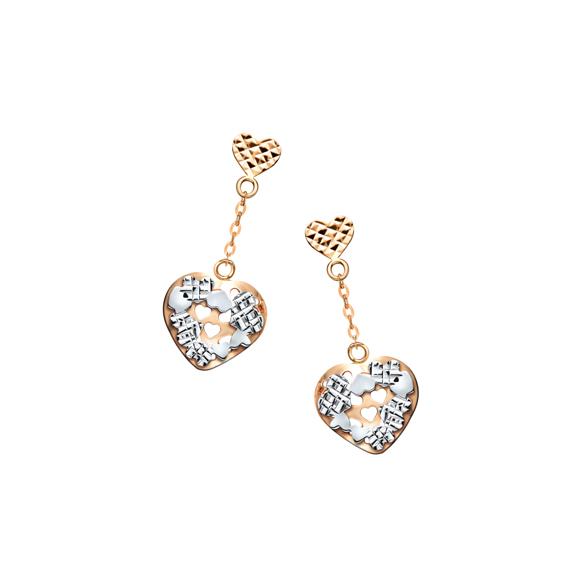 "18K Gold ""Cohesive Heart"" Earrings"