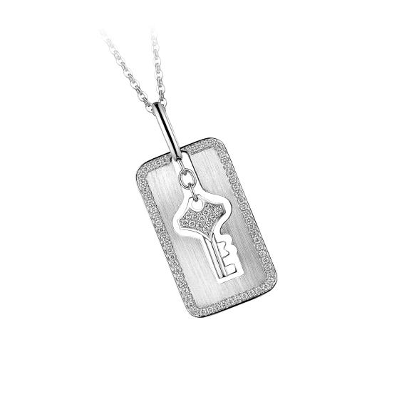 愛恆久系列18K金鑽石吊墜(男裝)