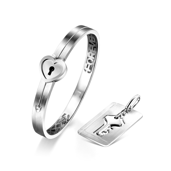 爱恒久系列「心锁」纯银925吊坠及手镯情侣套装