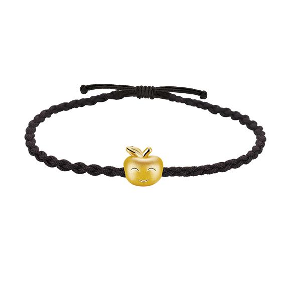抱抱家庭系列黄金立体吊饰手绳 - 平安果