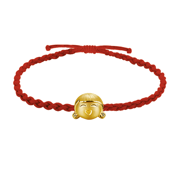 Hugging Family Three-dimensional Gold Charms with Cord Bracelets -Ting-ting