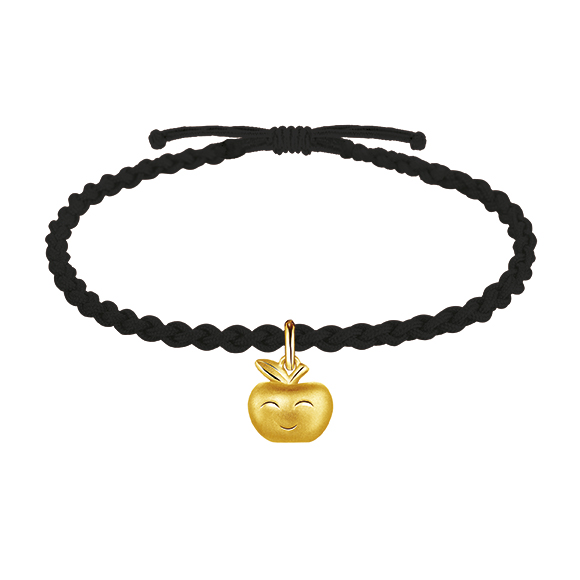 Hugging Family Three-dimensional Gold Charms with Cord Bracelet - Apple
