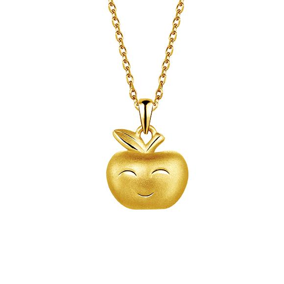 抱抱家庭系列黄金立体吊饰 - 平安果