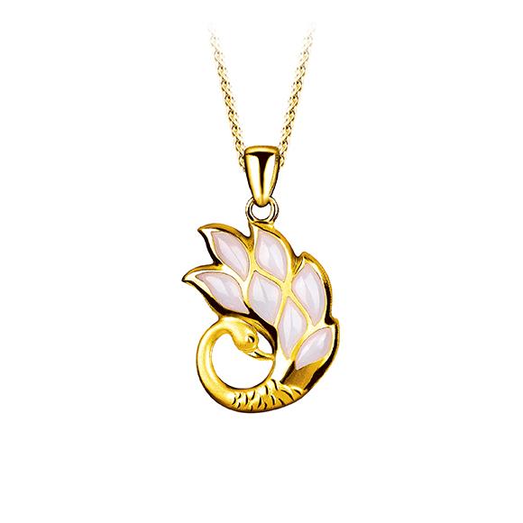 黄金衬珍珠贝母吊坠