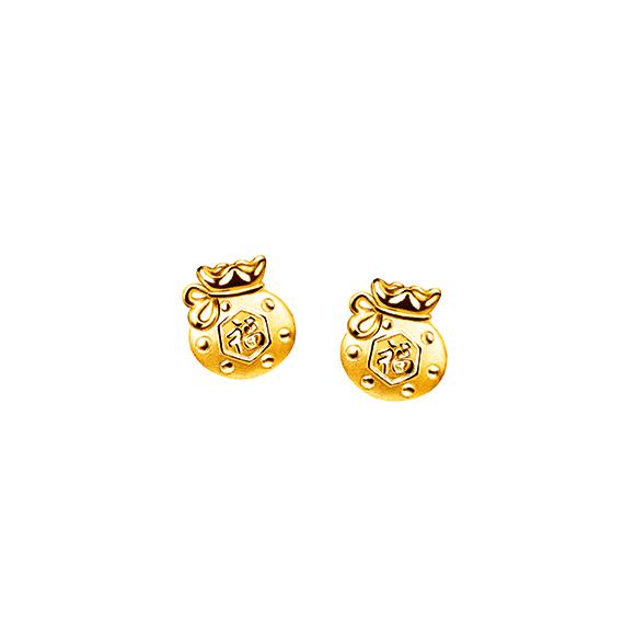 Hugging Family Gold Earrings- Lucky Bag