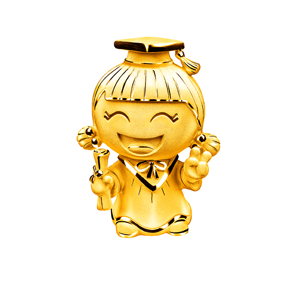Hugging Family Three-dimensional Gold Figurine-Ting-ting in Graduate look