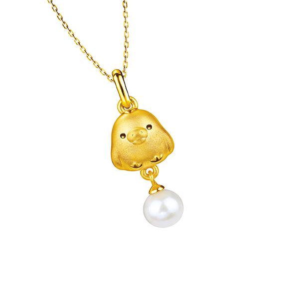 輕鬆小熊™系列黃金襯珍珠吊墜