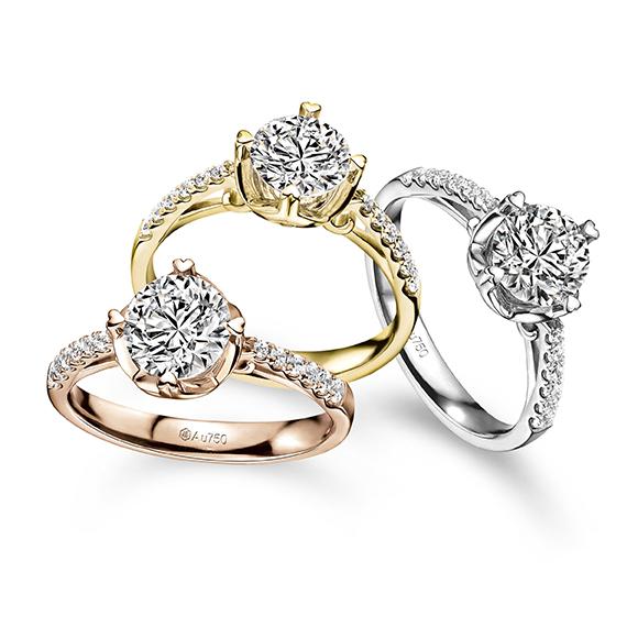 爱很美系列18K黄金钻石戒指