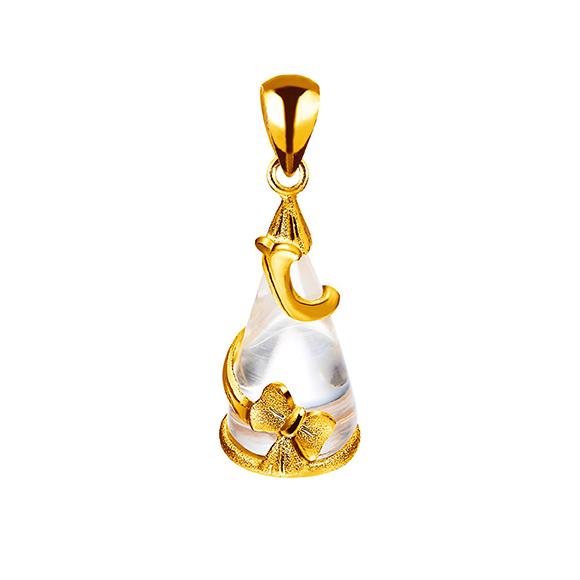 黄金衬水晶吊坠