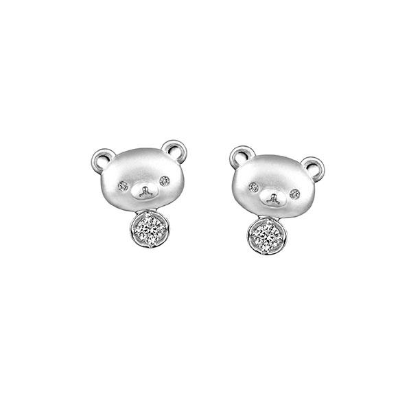 Rilakkuma™ Collection 18K White Gold Diamond Earrings