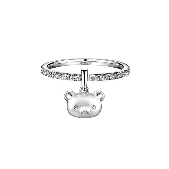 轻松小熊™系列18K白色黄金钻石戒指/吊坠
