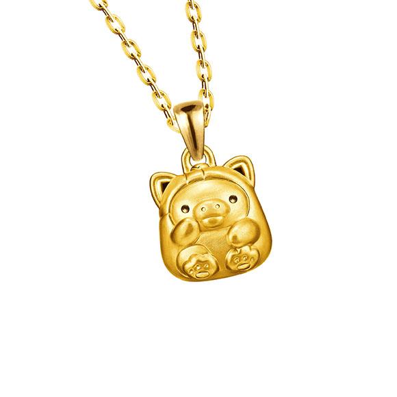 轻松小熊™系列小鸡招财造型立体黄金吊坠