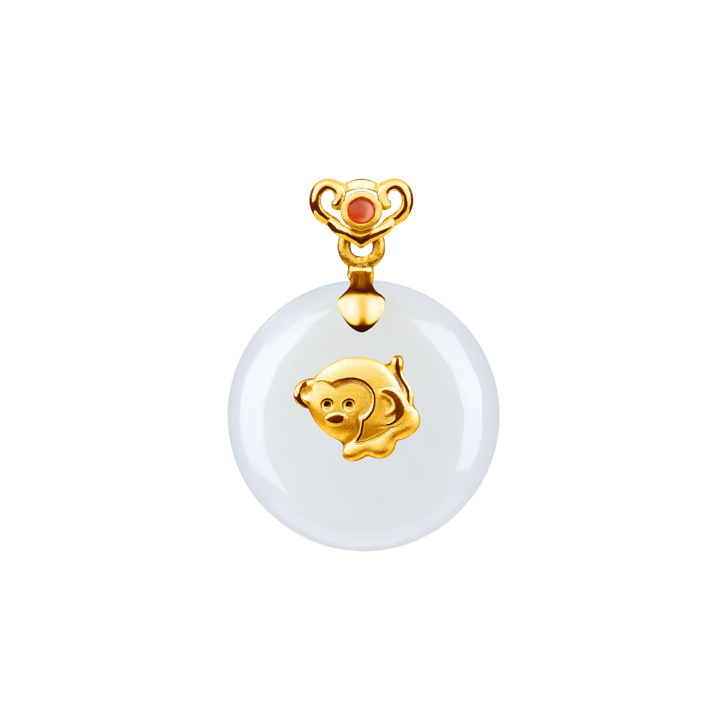 黄金镶和田玉十二生肖吊坠-猴
