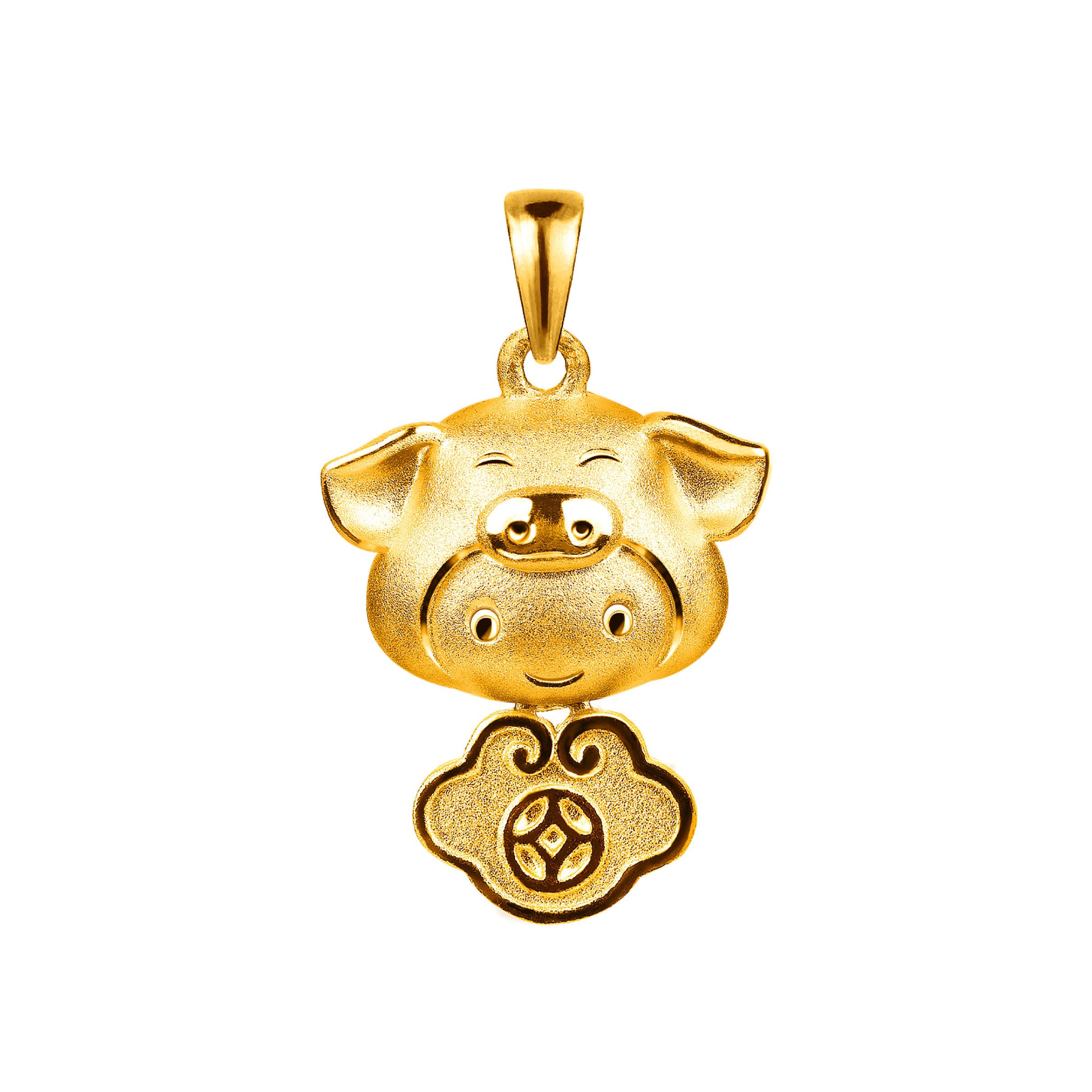 黄金十二生肖吊坠-猪