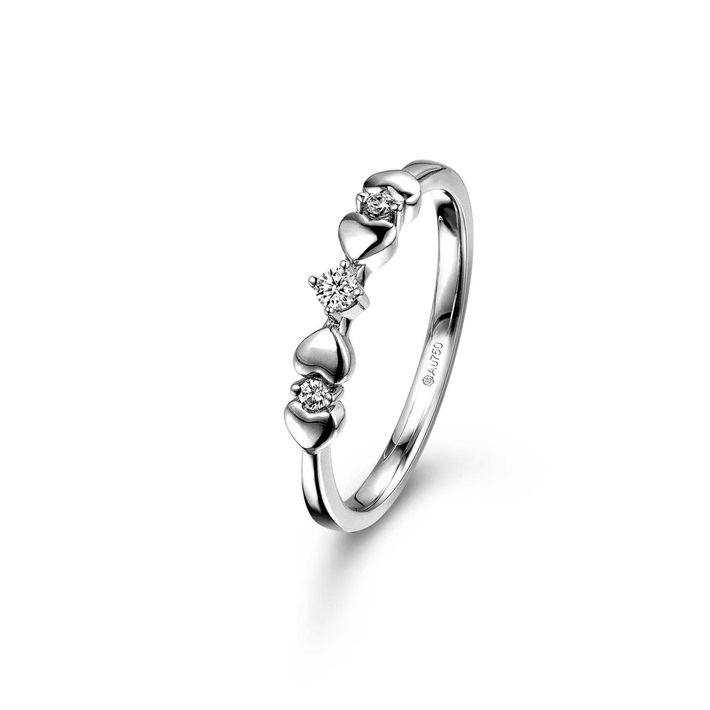 爱很美系列18K白色黄金钻石戒指