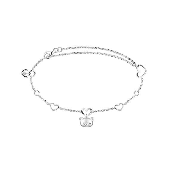轻松小熊™系列轻松小熊™衬心形18K金(白色)钻石链