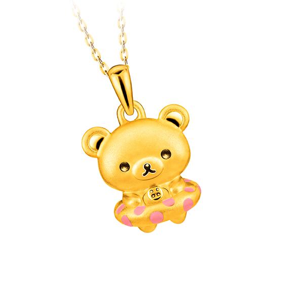 轻松小熊™系列小白熊衬水泡足金珐琅吊坠