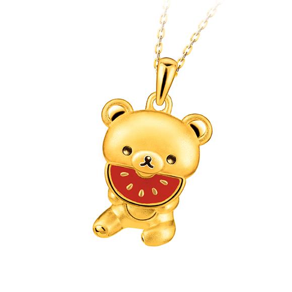 轻松小熊™系列轻松小熊™衬西瓜足金珐琅吊坠