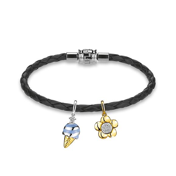 Rilakkuma™ Collection Ice cream / Flower 18K Gold Diamond Charms with Enamel