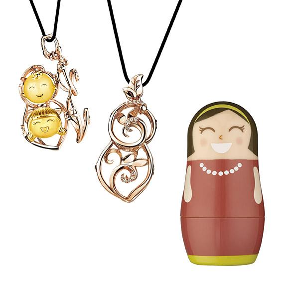 抱抱家庭系列妈妈Lucy-18k金红色衬钻石挂坠