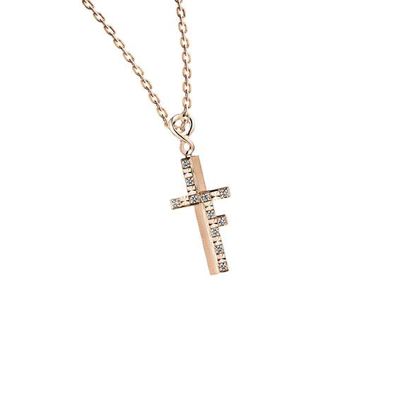 愛恆久系列十字形18K金(紅色)鑽石吊墜