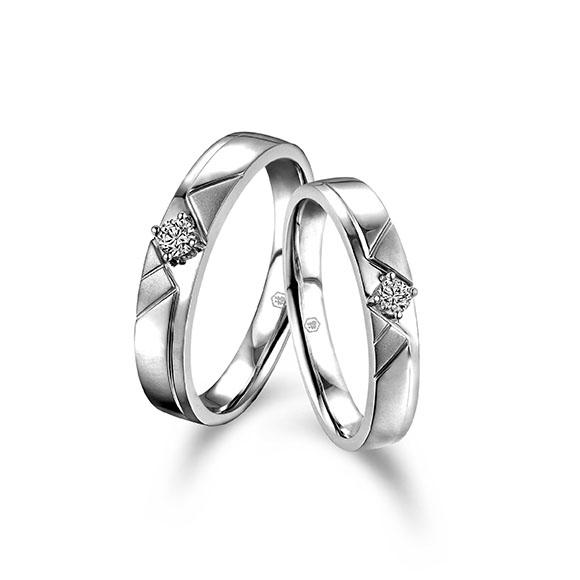愛恆久系列18K金(白色)鑽石情侶對裝戒指