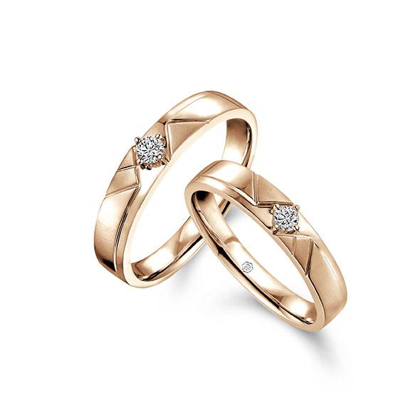 愛恆久系列18K金(紅色)鑽石情侶對裝戒指