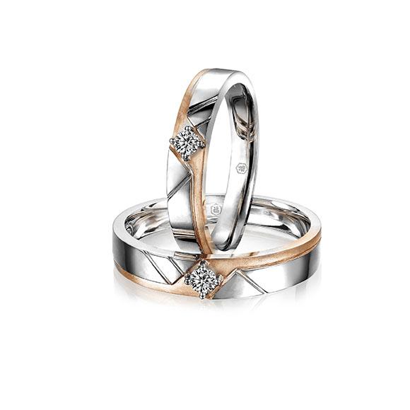 愛恆久系列18K金(紅白分色)鑽石情侶對裝戒指