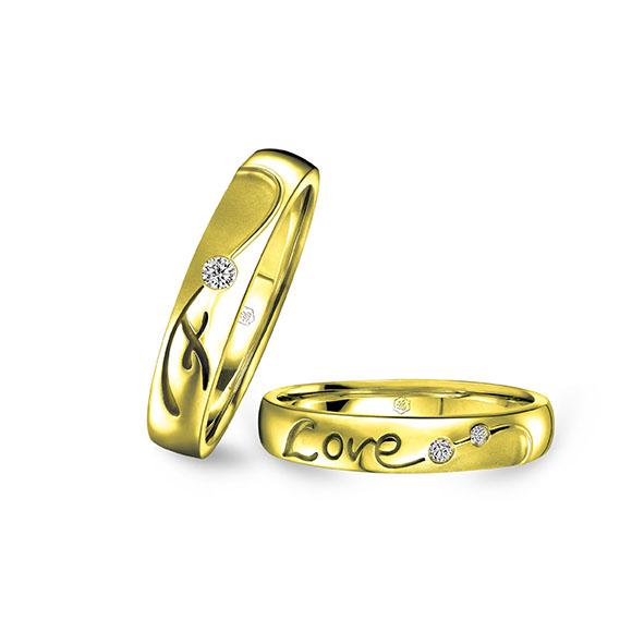 愛恆久系列18K金(香檳金色)鑽石情侶對裝戒指