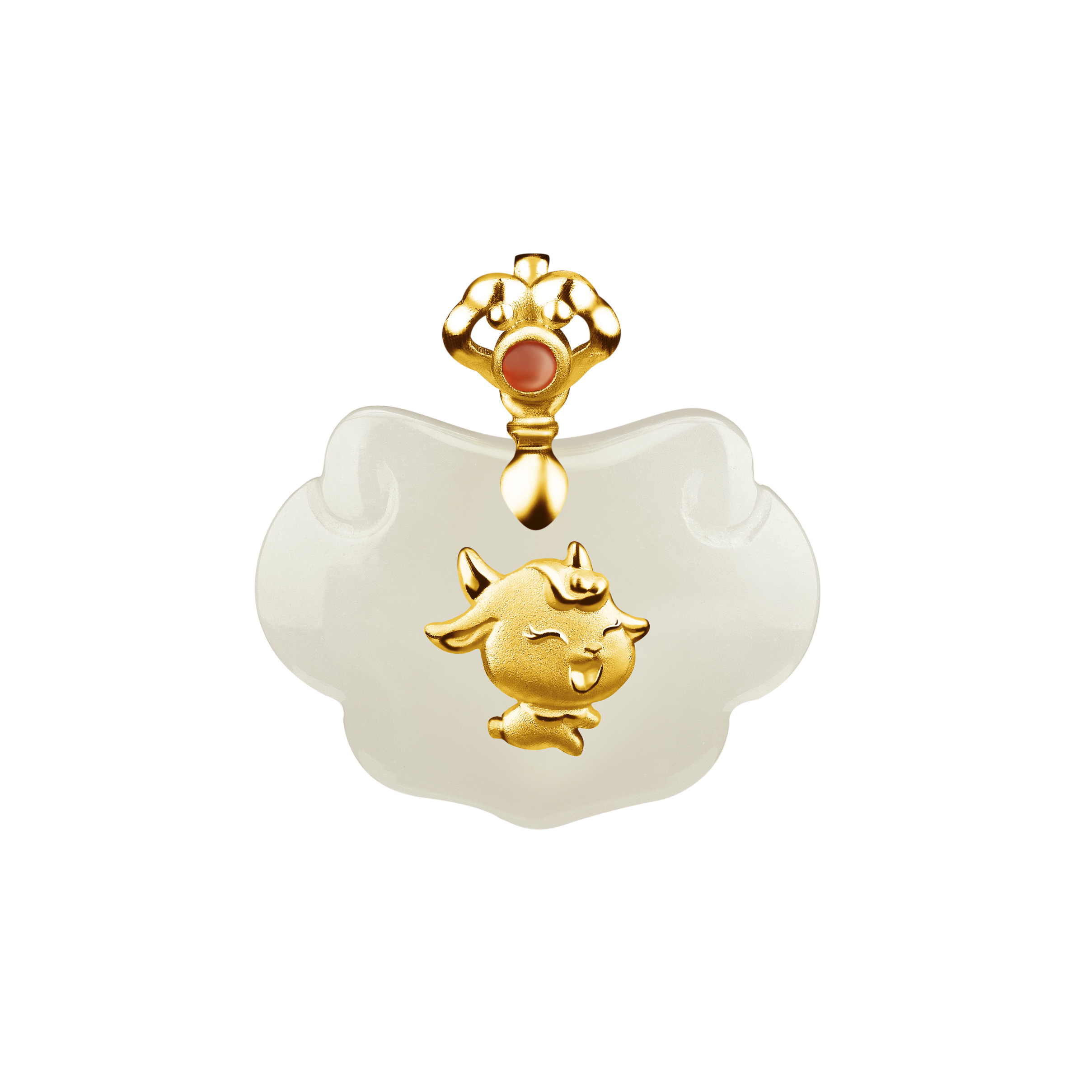 12 Chinese Zodiac Gold Pendant with Nephrite-Goat