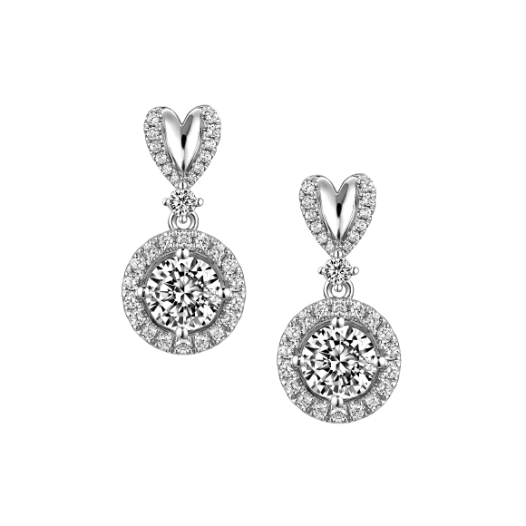 Love is Beauty Collection 18K White Gold Diamond Earrings