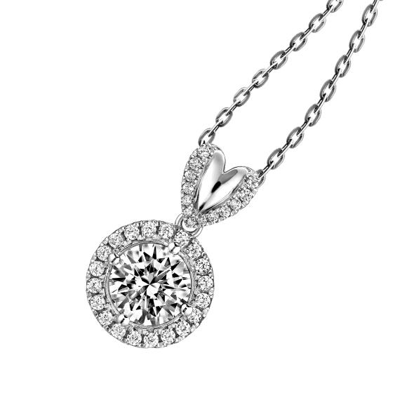 爱很美系列18K金(白色)钻石挂饰