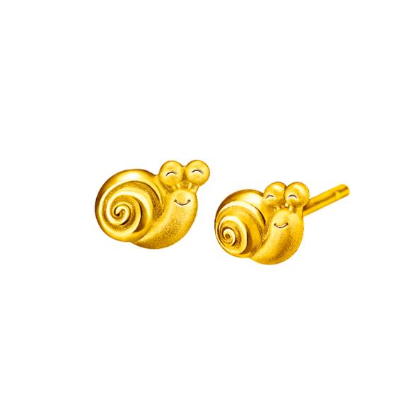 Hugging Family Snail Gold Earring