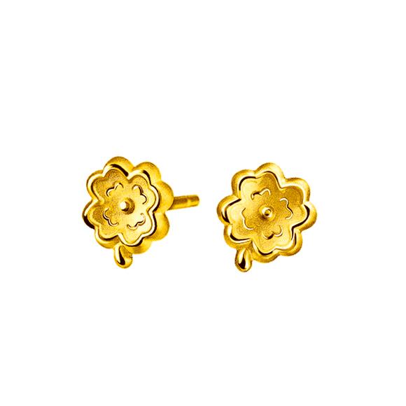 Hugging Family Four-leaf Clover Gold Earring