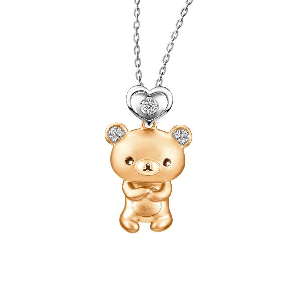輕鬆小熊™系列18K金鑽石吊墜