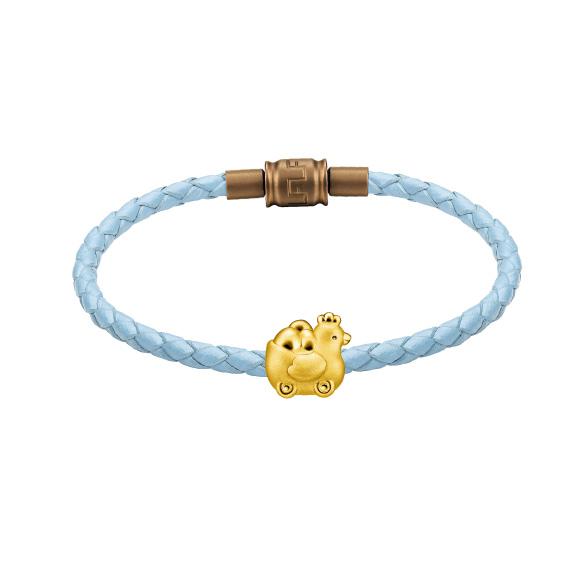輕鬆小熊™系列雞媽媽玩具車運金蛋足金立體串飾