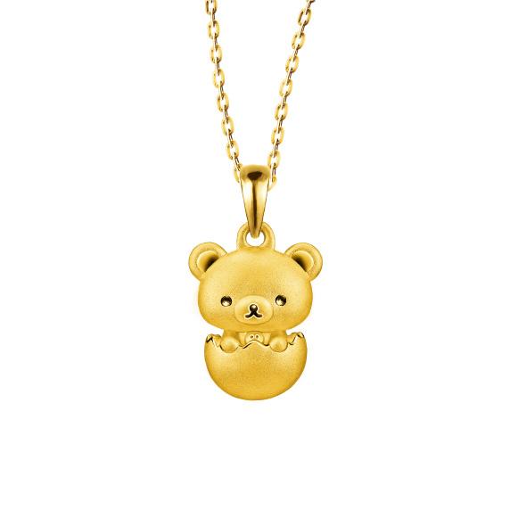 輕鬆小熊™系列小白熊足金立體吊墜