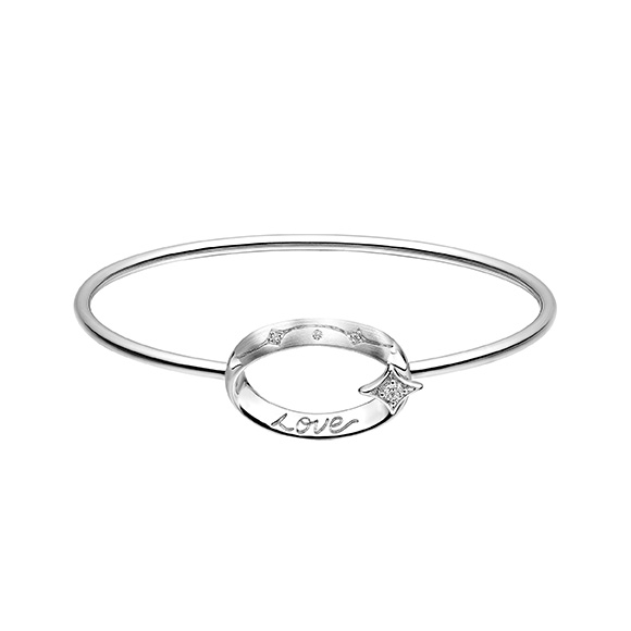 愛恆久系列18K金(白色)鑽石手鐲