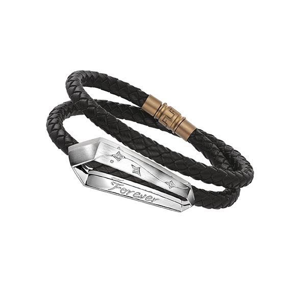 愛恆久系列18K金(白色)鑽石串飾襯皮手繩
