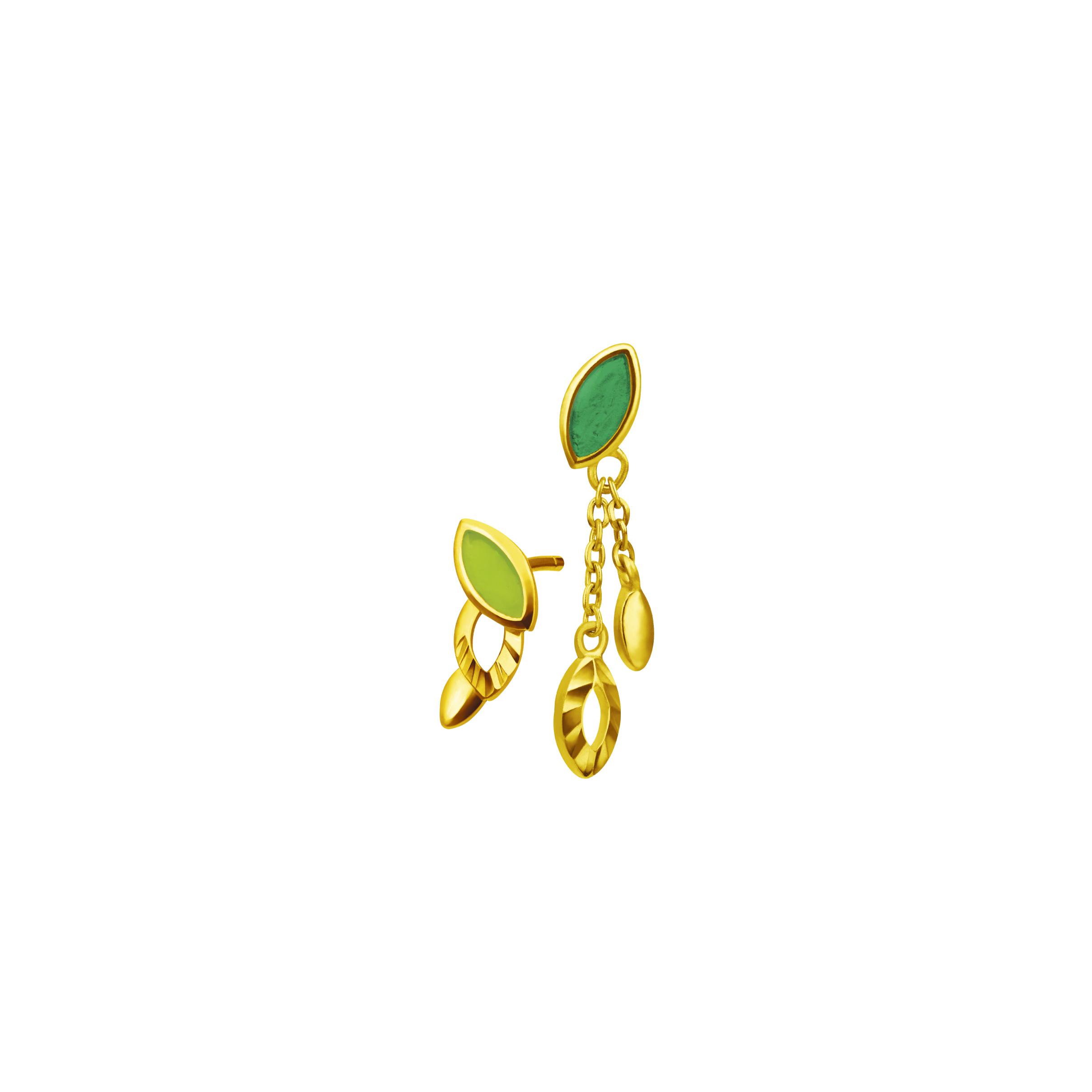 Gold Earrings with Enamel