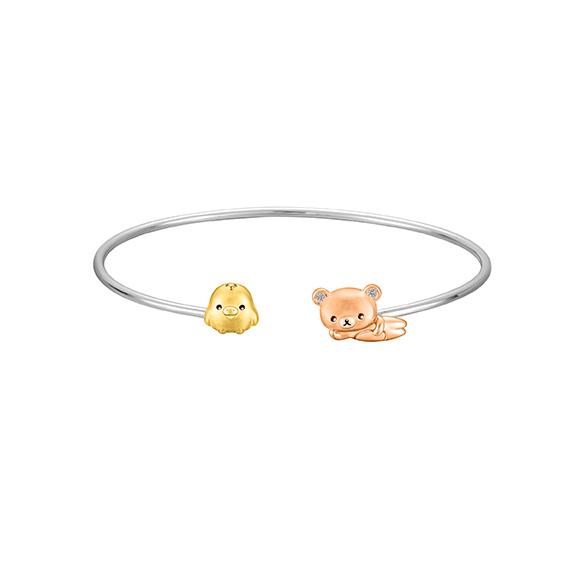 輕鬆小熊™系列輕鬆小熊™及小雞18K金鑽石手鐲