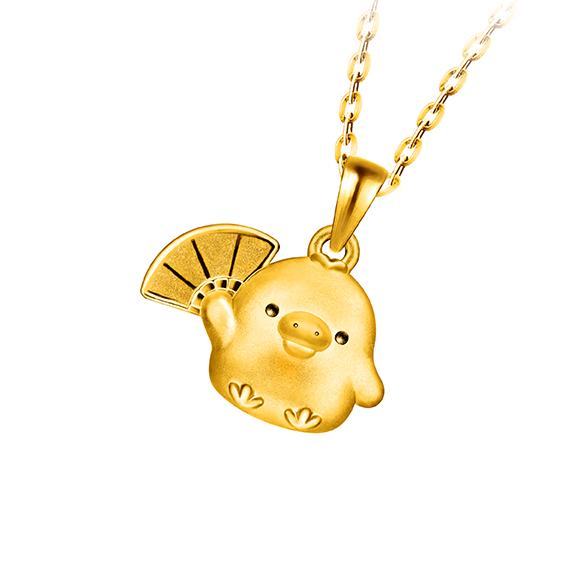 輕鬆小熊™系列小雞足金立體吊墜