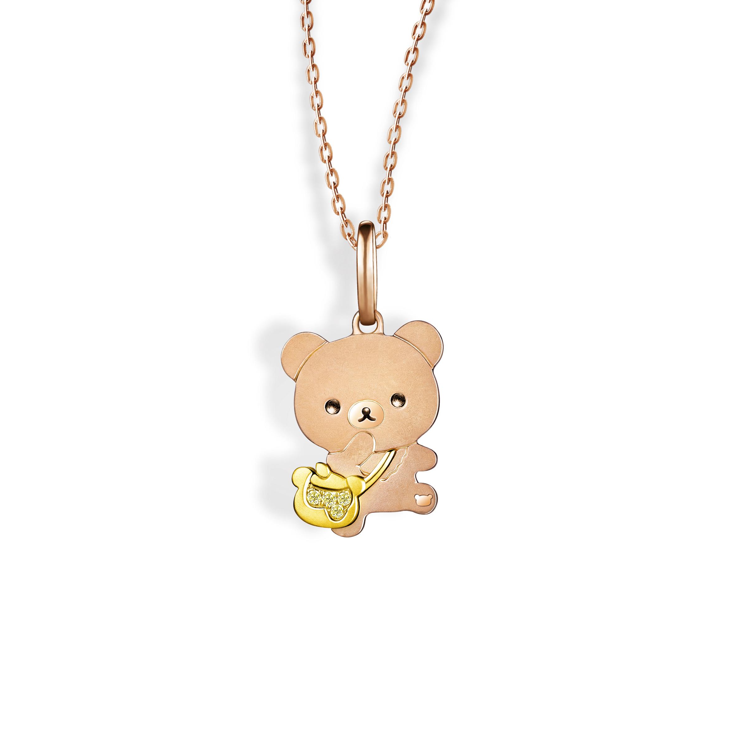 轻松小熊™系列茶小熊18K金钻石挂坠