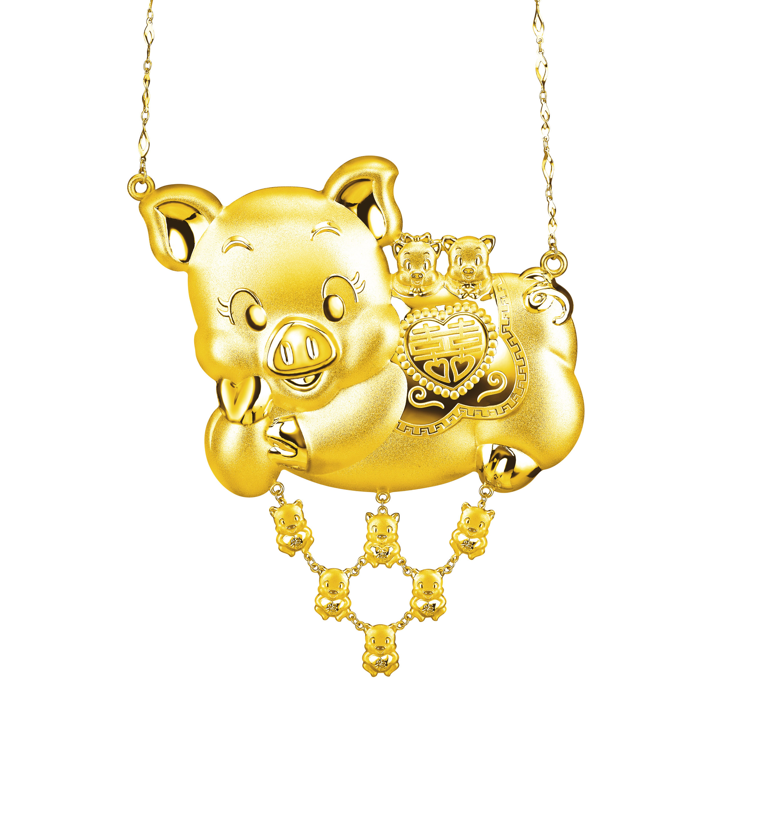 Beloved Collection Best-wishing Gold Pig Necklace