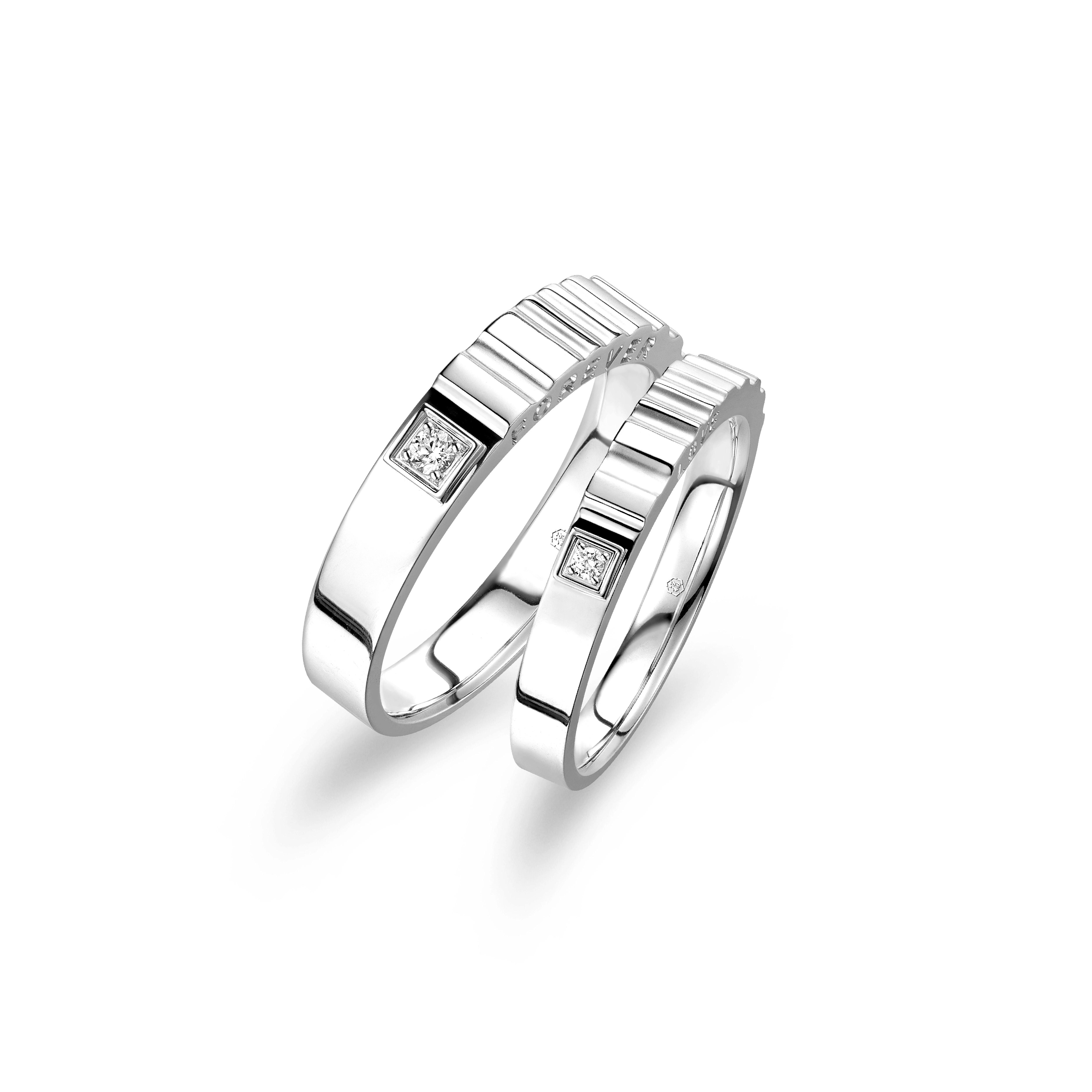 爱恒久系列18K(白色)金钻石情侣戒指