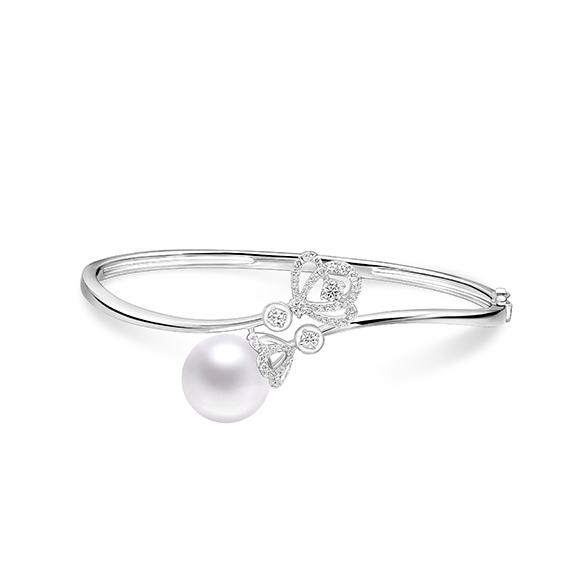 婚嫁系列18K金(白色)钻石衬珍珠手镯