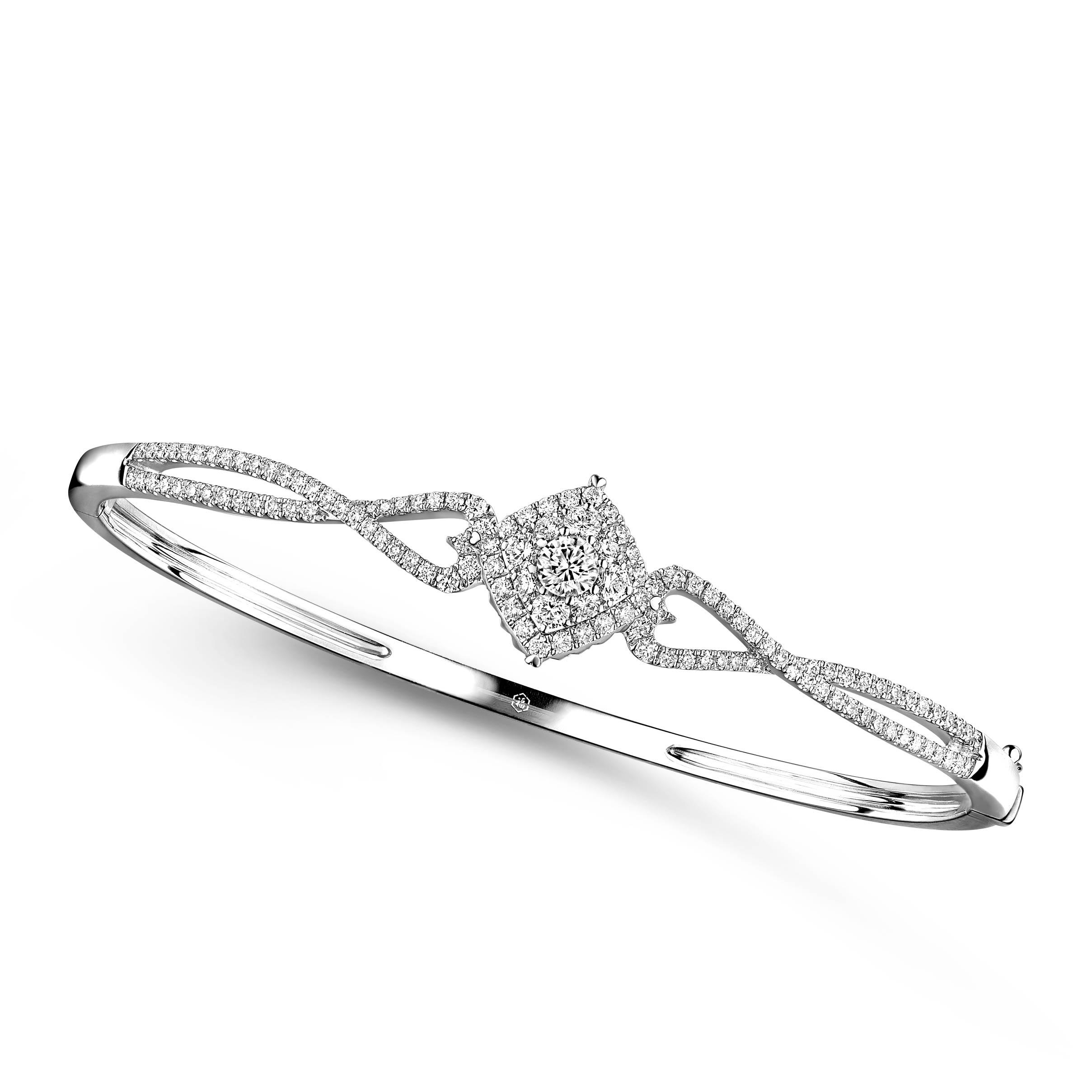 爱很美系列18K金(白色)钻石手镯