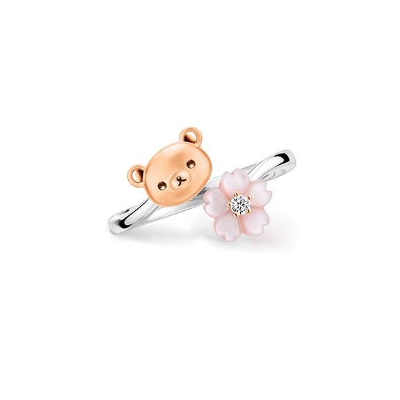 輕鬆小熊™系列輕鬆小熊™及櫻花18K金鑽石襯貝母戒指