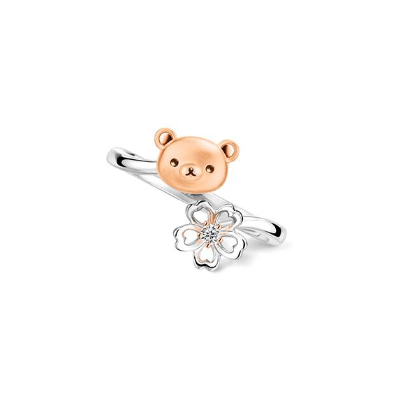 輕鬆小熊™系列輕鬆小熊™及櫻花18K金鑽石戒指