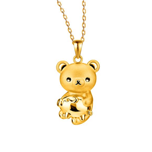 轻松小熊™系列轻松小熊™及小猪足金立体挂坠